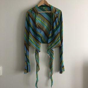 Tibi 100% silk tie front striped blouse crop Top